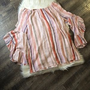 Fever Off Shoulder Ruffle Stripe Top